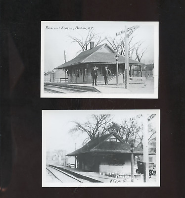 2 old Pontiac RI photo postcards, railroad stations, depots, Rhode Island repros