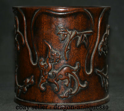 "5"" Rare Chinese Palace Old antique Wood Hand-Carved Beast Brush Pot pencil vase"
