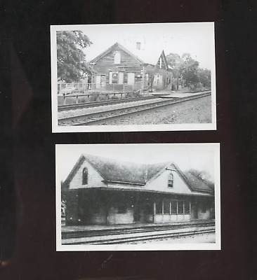 2 old East Greenwich RI photo postcards, railroad stations,depots,Rhode Island,