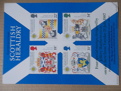 Royal Mail A4 Post Office Poster 1987 Scottish Heraldry Order Of Thistle