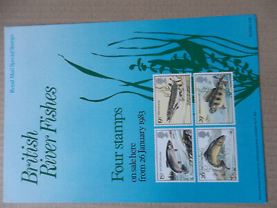 Royal Mail A4 Post Office Poster 1983 British River Fishes Fish Pike Perch Trout