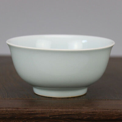 China antique old hand-carved porcelain Shallow the azure glaze A small bowl b02