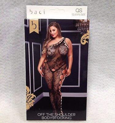 Baci Off Shoulder Bodystocking Black Queen Plus Size Curved 1x2x Lingerie 5003