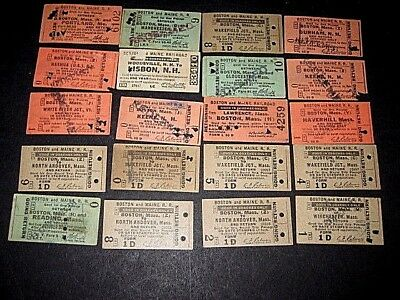 20- Boston & Maine, mostly 1930s. Used Railroad Tickets.-Punched, cancelled  sc