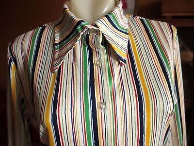 LARGE True Vtg 70s STRETCH KNIT rainbow stripe PRINTED POLYESTER Disco Top