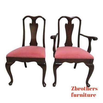Pair of Harden Cherry Queen Anne Dining Room Side Arm Chairs