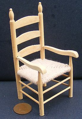 1:12 Scale Natural Finish Wooden Rush Seat Carver Chair Tumdee Dolls House 091