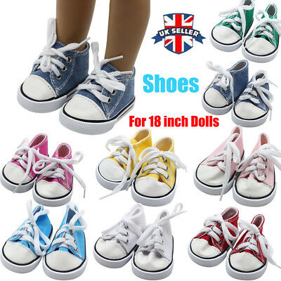 Canvas Lace Up Sneakers Shoes For 18 inch American Girl & Boy Dolls Accessories
