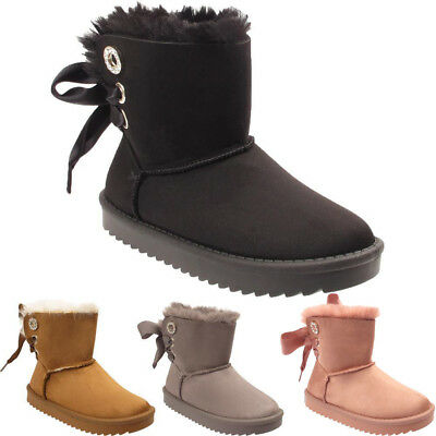 Kids Satin Bow Fashion Fur Lined Girls Warm Winter Children's Snugg Ankle Boots