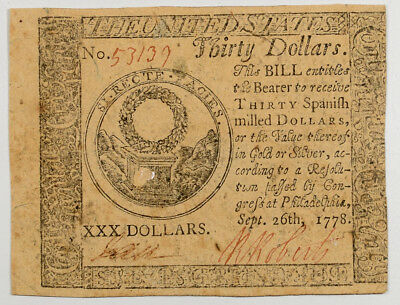 Sept 26, 1778 $30 Continental Currency About Vf