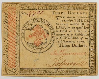 Jan 14, 1779 $3 Continential Currency, Vf W/ Nice Color