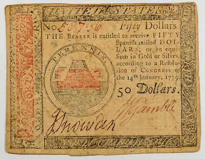Jan 14, 1779 $50 Continental Currency, F/vf