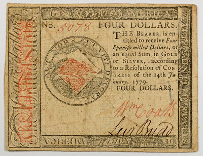 Jan 14, 1779 $4 Continental Currency, F/vf