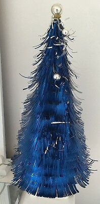 "Vintage SHINY BLUE Foil Tree 1950's Retro Mid century Christmas Old 22"" TALL"