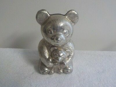 Vintage Silver Plated Teddy Bear Coin Piggy Bank 5 inch