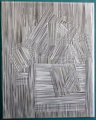"""Vasarely Victor  - """"Structures binaires permutables""""  Collage"""