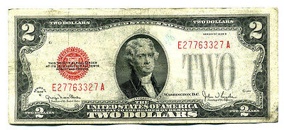 United States 1928G $2 DOLLAR Note EA BLOCK E27763327A PAPER MONEY BILL RED SEAL