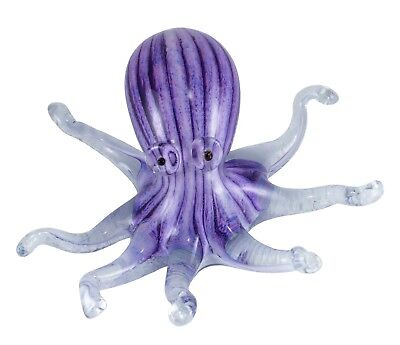 "Large Hand Blown Purple Striped Glass Octopus Paperweight Figurine 6.5"" Wide New"