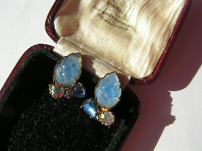 B'ful Vtg Art Deco Small Blue Etched Glass & Rhinestone Clip On Earrings