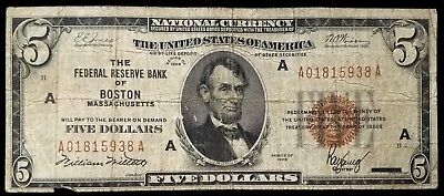 1929 $5.00 National Currency, The Federal Reserve Bank of Boston, Massachusetts!