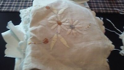 Lot 43 Asst'd vintage Linens Doilies Runners Lace Napkins Cutters embroidered