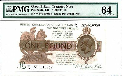 Treasury Note Great Britain  1 Pound ND(1928)  PMG  64