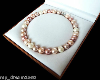 """Rare Natural 12mm White Pink Purple South Sea Shell Pearl Fashion Necklace 18"""""""