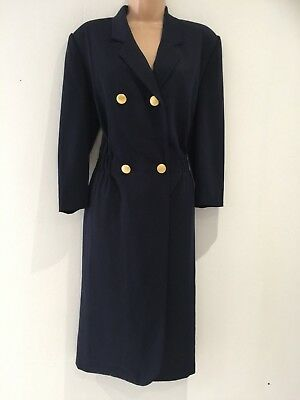 Vintage 1980's Navy Blue Wool Blend Double Breasted Fitted Winter Day Dress 16