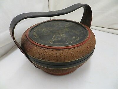 Vintage Hand Painted Japanese Asian Wicker Rice Basket
