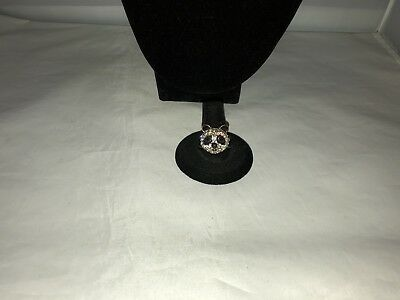 Cute Clear Pave Rhinestone & Black Enamel Panda Bear Ring~7.75