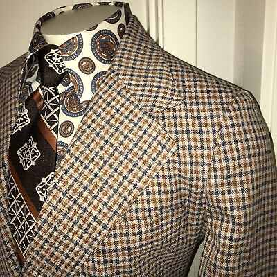 Vtg 60s 70s Tan Blue PLAID Mens 44 Leisure Suit Sport Coat Jacket Disco Blazer