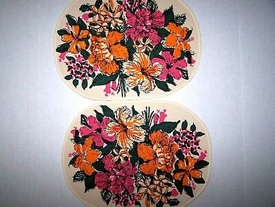 Vtg RETRO Key West Hand Print Oval Fabric Placemats (2) - FLA FLOWERS - SIGNED!