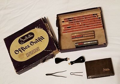 Vintage Justrite Office Outfit Rubber Stamp Making Kit W Pad
