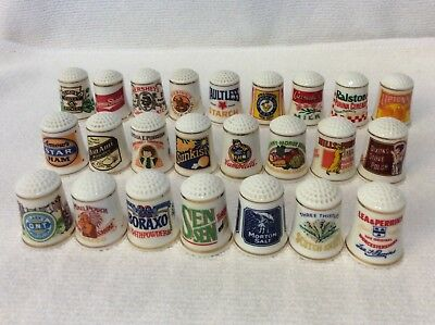 Vintage Franklin Mint Country Store Advertising Porcelain Thimbles Lot of 24