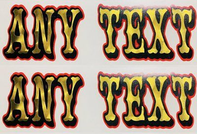 2 PERSONALIZED NAME STICKERS vinyl gold leaf chopper knuckle pan shovel head