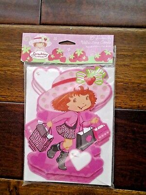 Vintage STRAWBERRY SHORTCAKE VALENTINE CARDS NRFP 10 cards & env AGC NOS !!