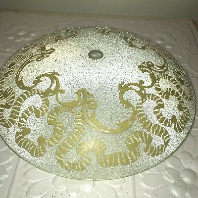 Vintage Ceiling Light Cover Round Frosted Bumpy Glass w/ Gold Pattern