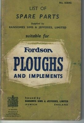 Fordson Ploughs & implements Supplied By Ransomes Spare Parts List 16364G  5746F