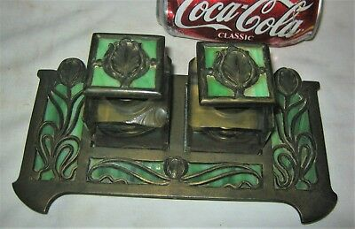 Antique Usa Nouveau Arts Crafts Bradley Hubbard Inkwell Pen Tray Apollo Studios