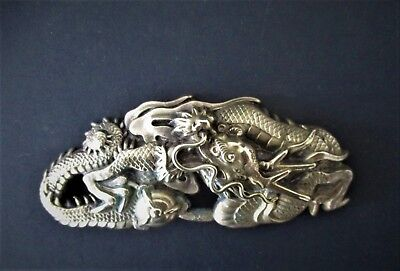 Old Chinese Silver Metal Dragon Brooch