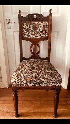 Antique Victorian Solid Oak Wood Carved Tapestry Chair Bedroom Study Hall