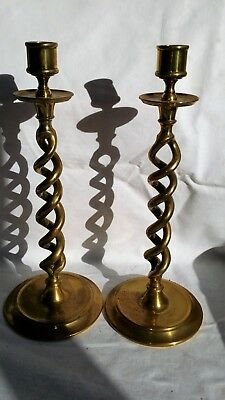 Antique Vintage Pair Of Barley Twist Brass Candle Stick Holders, 29.3 Cm High.