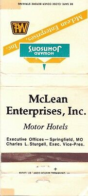 Howard Johnson's-Motor Hotels--Matchbook--Empty-Vintage-Two Inches Width