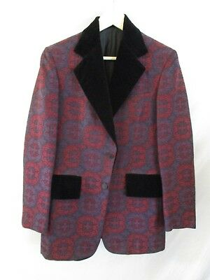 vintage tuxedo red black floral damask velvet blazer sport coat jacket 36R