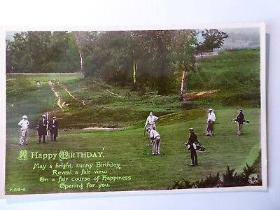Golfers On Unknown Golf Course. Birthday Greetings. Rotary RP.