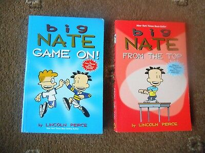 BIG NATE ~ COMICS FOR KIDS ~ 2 x PB Book GAME ON & FROM THE TOP Lincoln Peirce