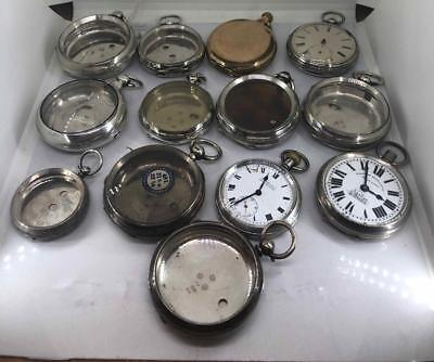 Collection Of 11 Silver Pocket Watch Cases Including Pair Case & Movements 500g