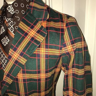 NEW Vtg 60s Green PLAID Cord CORDUROY Mens 40 R Sport Coat SMOKING Jacket Blazer