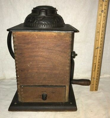 Antique Arcade Ixl Coffee Grinder Mill Cast Iron Wood W/ Side Handle Freeport Il