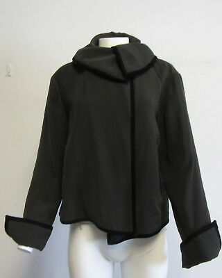 GIORGIO ARMANI Brown zip front blazer/jacket with velvet trim SZ 46/L